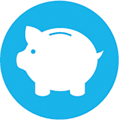 a white piggy-bank with a light blue background