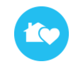 a image of a house with a heart coming out of it with a blue background