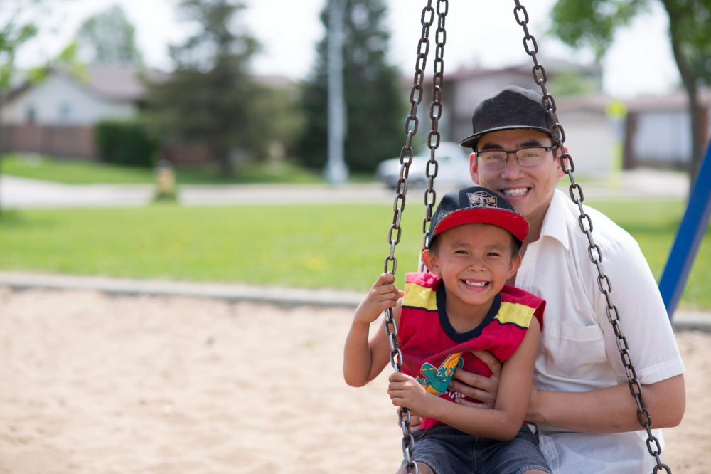 father and son in park promote healthy relationships