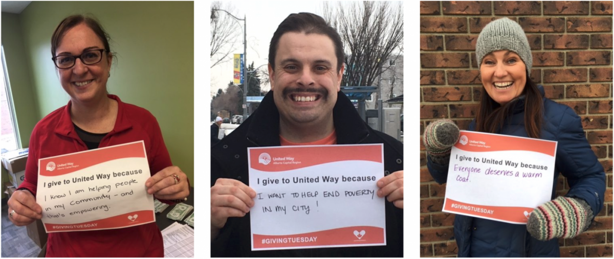 a collage of people holding #givingtuesday signs